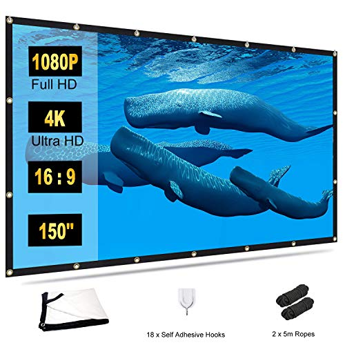 Projector Screen 150 inch, TOWOND 4K Movie Projector Screen 16:9 HD Foldable and Portable Indoor Outdoor Projection Rear Front Projections Screen for...
