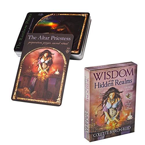 Gxnimer Tarotkarten, 44 Stück Wisdom of The Hidden Realms-Karten mit Leitfaden für elektronische Brettspiele für Anfänger (englische Ausgabe)