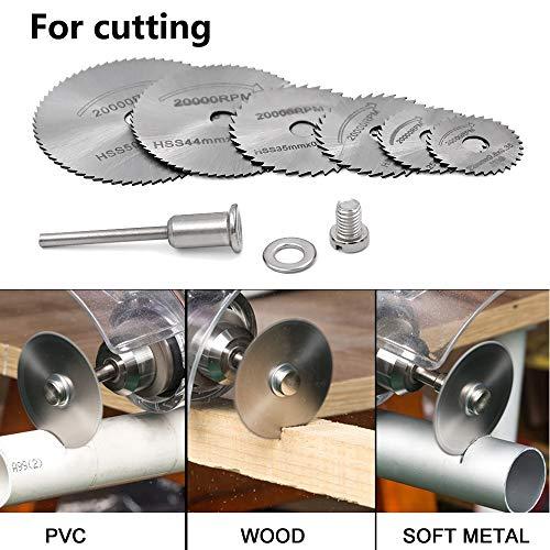 "Saiper 12pcs/2Sets HSS Circular Wood Cutting Saw Blade Discs with 2pcs 1/8"" Shank Extension Rod for Dremel Rotary Tool Mandrel"