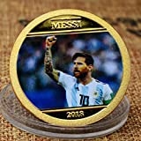 Yuanan La Copa del Mundo Fútbol Estrella Lionel Messi Medalla Conmemorativa Chapado en Oro Color Spray-print Artesanía Monedas