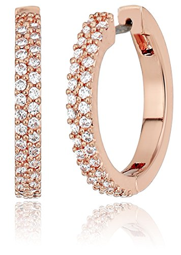 kate spade new york'Pave Huggies' Save The Date Pave Huggies Clear/Rose Gold Drop Earrings