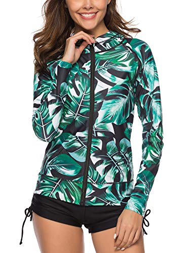 Caracilia Women's UPF 50+ Full Zip Front Long Sleeve Top Rashguard Hoodie Swimsuit F33-3XL CA106