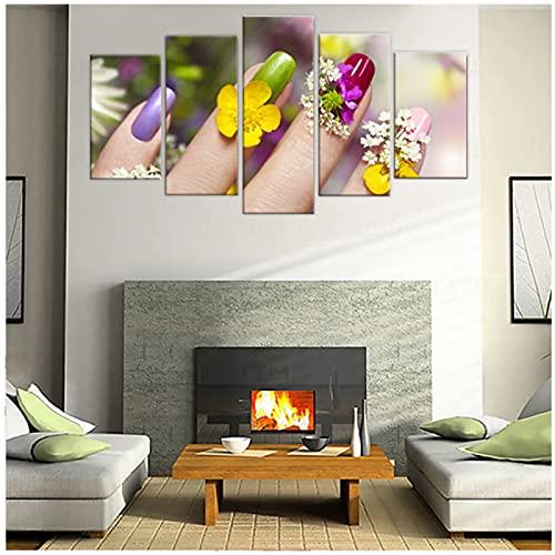 5 paneles de arte de pared, lienzo, salón de belleza, pintura de manicura, póster artístico para uñas, imagen de impresión HD moderna, tienda de manicura, decoración de pared