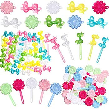76 Pieces Self Hinge Plastic Hair Barrettes for Girls Multi-coloured Flower and Bowknot Hair Clips Barrettes 80s 90s Hair Clips Pins Cartoon Design Hairpins for Girl Hair Accessories  Flower Bowknot