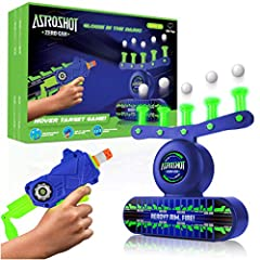 GLOW IN THE DARK SHOOTING GAME KIT: This toy gun shooting target game includes 1 target shooting gallery, foam dart gun, 10 hovering ball targets, 10 foam darts, and 5 knockdown targets; compatible Nerf gun accessories GRAVITY-DEFYING TARGET PRACTICE...