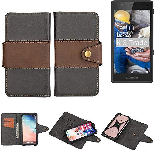 K-S-Trade® Funda Teléfono Celular Estuche Cubierta Bookstyle para -Fairphone Fairphone 2- Parachoques Protección Integral Negro-marrón 1x