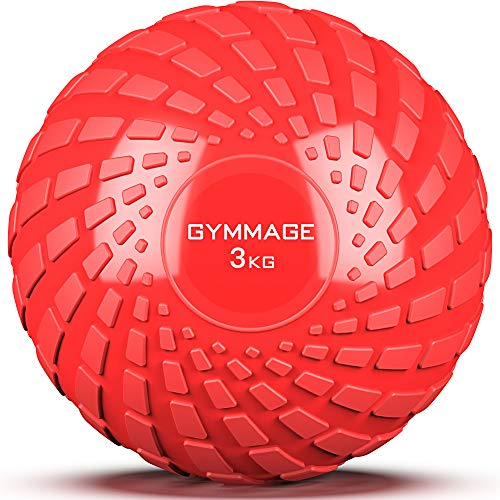 GYMMAGE メディシンボール 3~10kg 筋力トレーニング スラムボール エクササイズ (レッド)