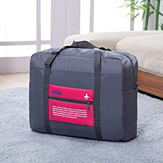 Tahitte Packable Travel Duffel Sport Bag Foldable Waterproof Carry Storage Luggage Tote (Pink)