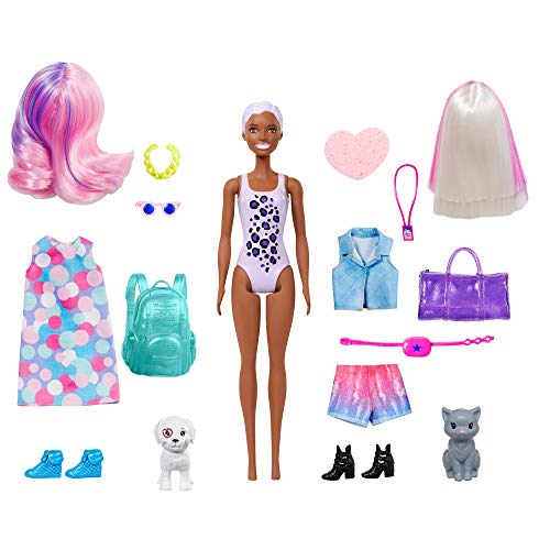 Barbie Color Reveal del Carnaval al Concierto, muñeca que revela sus colores con agua, incluye ropa y accesorios (Mattel GPD57)
