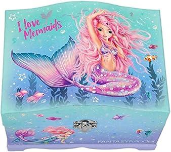 Depesche 11123 Joyero Fantasy Model Mermaid, con luz, aprox. 18,5 x 13,5 x 13,8 cm.