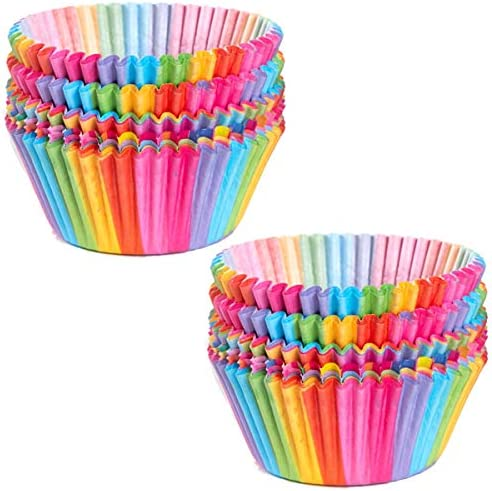 Cupcake Cases Cake Paper Cup Rainbow Baking Cups for Oven Wedding Party Birthday 100pcs product image