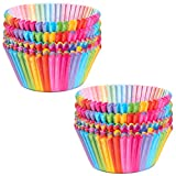 Cupcake Cases, Cake Paper Cup Rainbow Baking Cups for Oven Wedding Party Birthday, 100pcs...