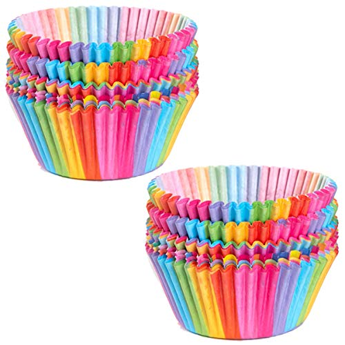 Cupcake-Förmchen, Papierbecher, Regenbogen-Backförmchen für Ofen, Hochzeit, Party, Geburtstag, 100 Stück