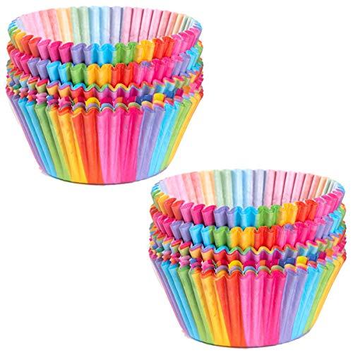 Cupcake-Förmchen aus Papier, Regenbogenfarben, für Ofen, Hochzeit, Party, Geburtstag, 100 Stück