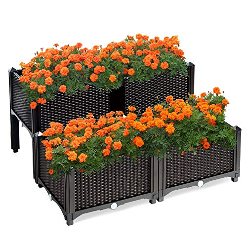 Raised Garden Bed Plastic Elevated Planter Box with Self Watering Rattan Pattern Planter Kit for Flower Vegetable Herbs Grow, Garden Kit Plant Bed Indoor Outdoor Patio Backyard, Brown, Set of 4