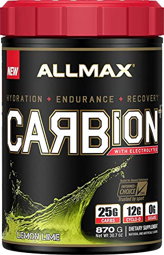 ALLMAX Nutrition CARBion+ with Electrolytes + Hydration, Gluten-Free + Vegan Certified, Lemon Lime, 1.91 lbs (870 g)