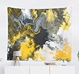 LALILO Grey and Yellow Art Decorative Tapestry, Black and White with Gold Marble Abstract Acrylic Wall Hanging Tapestry for Bedroom Living Kids Girls Boys Room Polyester 60 L X 80 W