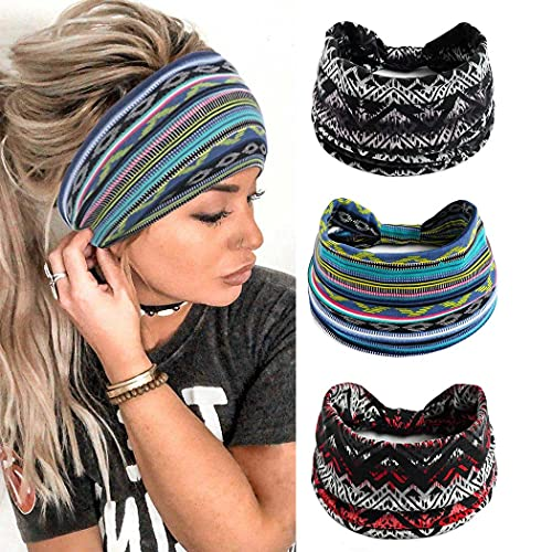 Yean Diadema ancha Boho para el pelo, banda azul, con rayas, transpirable, turbante, accesorio para la cabeza elástica para mujeres y niñas (paquete de 3)