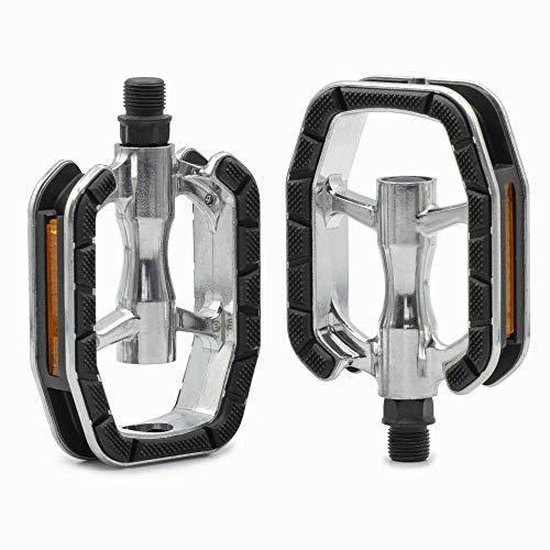 GVCTⓇ Universelle Fahrradpedale mit Gleitlagertechnologie für Citybikes, Trekkingräder, Tourenräder und E-Bikes (Silber/schwarz)