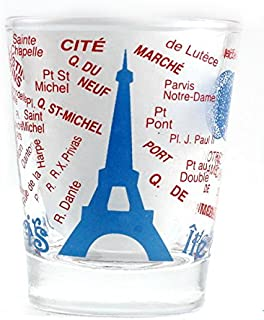 Paris France Eiffel Tower and Map Blue Shot Glass