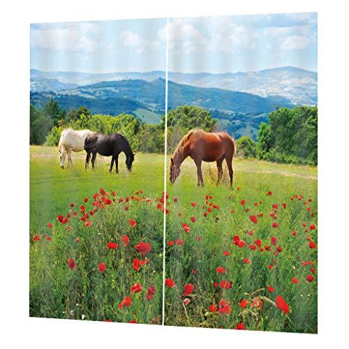 Homyl 2pcs Verdunkelungsvorhang Kräuselband Vorhänge Vorhang Duschvorhang für Wohnzimmer Badezimmer - Pferde