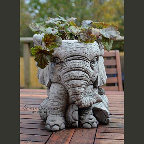 ONEFOLD - ELEPHANT - HAND CAST STONE GARDEN ORNAMENT/FLOWER POT/PLANTER/BASKET