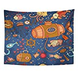 Tapices decorativos Tapestry Wall Hanging Underwater of on The Tropic Sea Life Marine Collection Summer Pattern Fills 60' x 80' Home Decor Art Tapestries for Bedroom Living Room Dorm Apartment