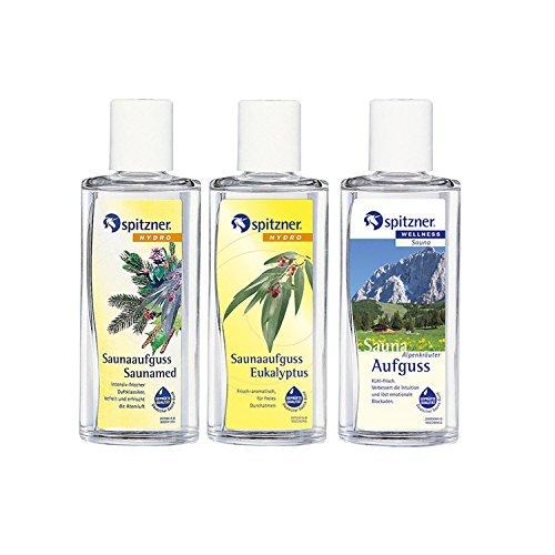 Preisvergleich Produktbild Saunaaufguss Traditionell: Saunamed,  Eukalyptus,  Alpenkräuter (3x190ml) von Spitzner