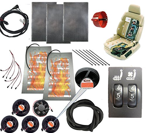 Tech Era 12v car Heated and Cooled seat pad Kits System for Toyota RAV4 Cool/Heat Switch Heater pad car Ventilated seat Cooler 5 Fans 1 seat-Blow Wind Style