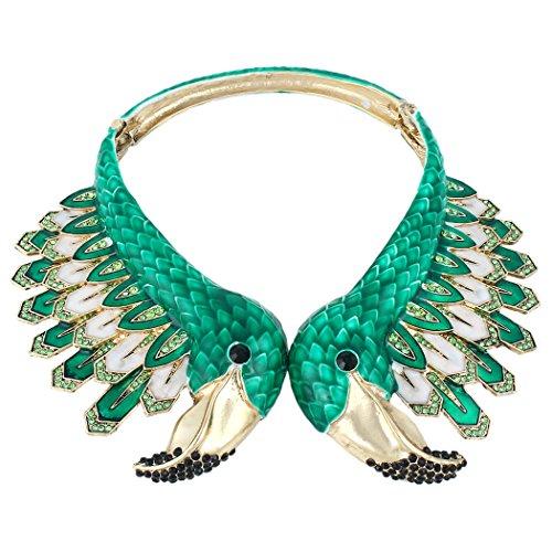 EVER FAITH Kristall Emaille Party Vintage Style 2 Flamingo Statement Choker Halskette Grün Antik Gold-Ton