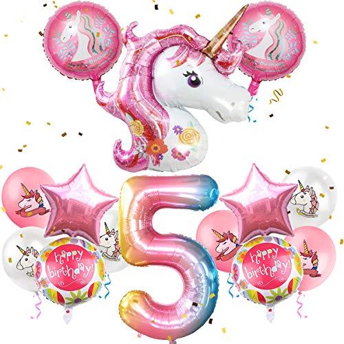 iZoeL Geburtstagsdeko Mädchen 5 Jahr Einhorn Luftballons Folienballon Happy Birthday Geburtstag Party Dekoration für Kinder