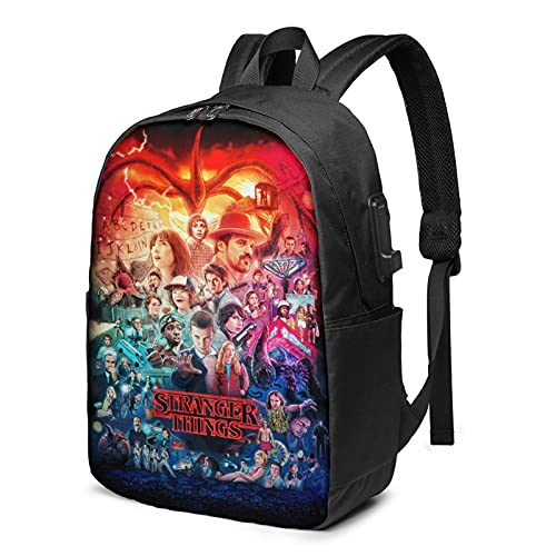 Stranger Things Classic Travel Backpack Large Capacity Notebook Bag School Bag With Usb Charging Port Headphone Port Leisure Business Computer Bag Fashionable Simple For Men & Women 17 Inch