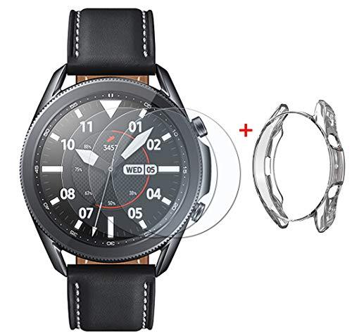 UCMDA Protector de Pantalla Samsung Galaxy Watch 3 45mm - [3+1 Pack] Anti-Burbujas, Scratch-Proof Watch Screen Cover Protector + Carcasa Protectora con TPU, para Samsung Galaxy Watch 3 45mm