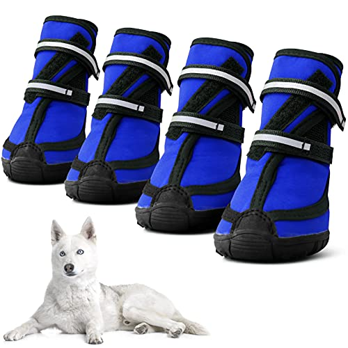 MORVIGIVE Dog Boots for Medium Large Dogs, Waterproof Winter Dog Shoes with Nonslip Rubber Soles &...