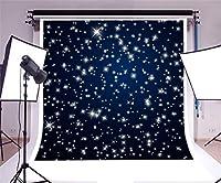 GooEoo 星空夜空8 x 8フィート写真背景星抽象的背景夜空星星空の光沢のあるきらめきダークブルーの背景子供赤ちゃん子供女の子女の子写真
