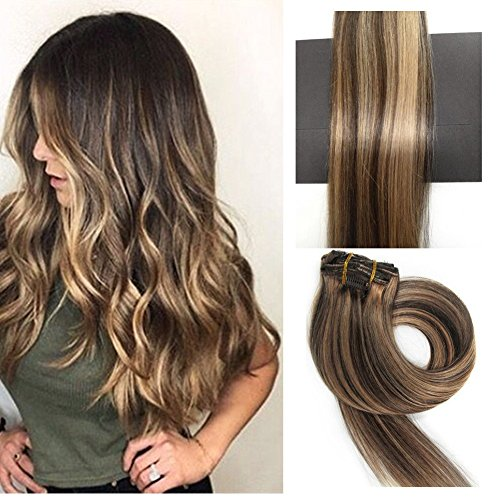 TheFashionWay Brazilian Human Hair Extensions Clip in Silky Straight Weft Remy Virgin Hair (15 inches, 4-27)