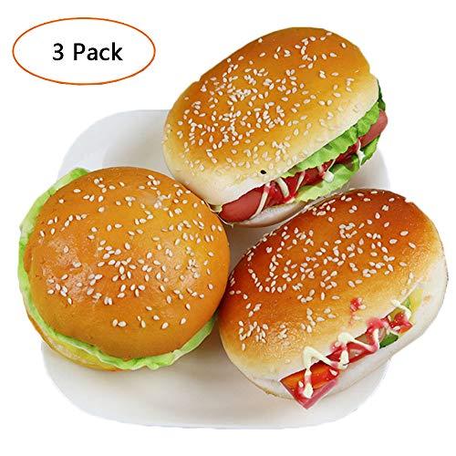 3 stuks Realistische Hamburger Creative Cute Artificial Fake Brood Hamburger Aantrekkelijke Sesame Hamburger Kids Voedingsmiddelen Brood Toy Fotografie Props