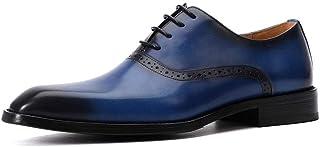 Men's Breathable Oxford Shoes Formal Shoes (Color : Blue, Size : 38)