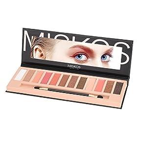 MISKOS 12 Colors Natural Nude Eyeshadow Palette Shimmer Matte Waterproof Eye Makeup Pallete Set Highly Pigmented Red Dark Naked Eye Shadow Pallet