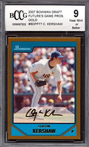 2007 Bowman Draft Gold #BDPP77 Clayton Kershaw Rookie Card Graded BCCG 9