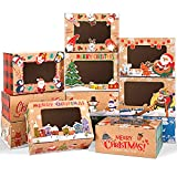 Bowount 30pcs Christmas Cookie Boxes with Window Christmas Bakery Box Kraft Gift Treat Box for Pastries Candy and Party Favor 8.3x5.9x3.7 Inches