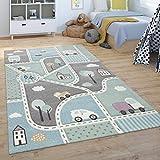 Paco Home Alfombra Infantil De Juegos Habitación Infantil, Diseño Carreteras, Verde Azul, tamaño:120x170 cm