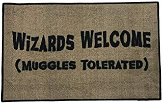 FloorMatShop Harry Potter Wizards Welcome Muggles Tolerated Novelty Carpet Nylon Indoor Welcome Entrance Mat Approx. 2' x 3' Surged Edge Made in The USA