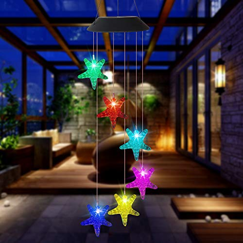 CIAOYE Outdoor Starfish Wind Chime Lights, Solar Powered Color Changing Wind Bell Lights Waterproof Outdoor Romantic Fairy Lightning for Garden Patio Yard Home, Starfish