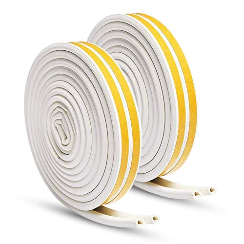 KELIIYO Door Weather Stripping, Window Seal Strip for Doors and Windows - Self-adhisive Foam Weather Strip Door Seal | Soundproof Seal Strip Insulation Gap Blocker Epdm D Type 66ft(20m) 2 Pack (White)