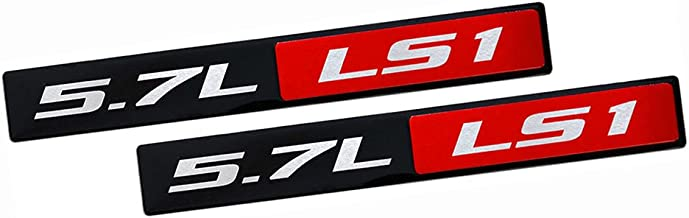 ERPART RED BLACK 5.7L LS1 Real Aluminum Engine Hood Emblem Badge Nameplate Crate for Compatible with Pontiac Trans Am Firebird WS6 Chevy Corvette C5 ZR1 Camaro Holden Special Vehicles HSV Opel (Pack o