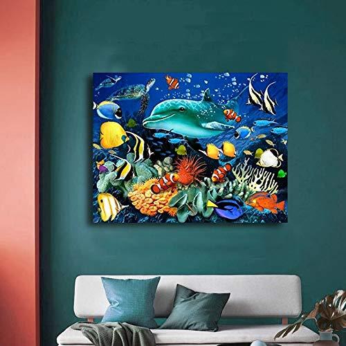 HGlSG DIY Malen nach Zahlen Bunter Fisch der Unterwasserwelt DIY malen nach Zahlen klein Mit Pinsel und Acrylfarbe Erwachsenenfarbe nach Zahlen Kits Kunstwerk Geeigne40x50cm(Kein Rahmen)