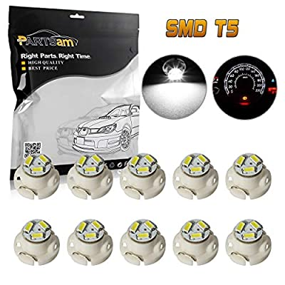 Partsam 10x White 12mm 12V 3 SMD LED T5 Neo Wedge Bulbs Auto A/C Climate Lights
