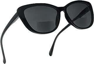 Women's Bi-Focal Cat Eyes Sun Readers Fashion Inspired Rx Prescription Spring Hinge Sunglasses (Black Frame, 2.00)