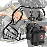 Set Defensas + Faro Adicional S2 para KTM 790 Adventure/R 19-21 Negro + K3